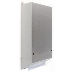 Paper towel dispenser recessed behind mirror visible distribution