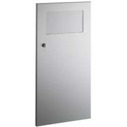 Waste bin recessed with metal front flap in stainless steel