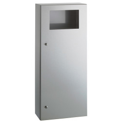 Waste bin collectivities stainless steel with frontal opening lock and key