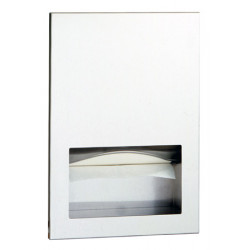 Recessed dispenser in stainless steel hand paper towels with lock