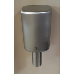Hand dryer integrated behind a mirror with vertical nozzle in stainless steel