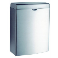 Small waste bin in stainless steel for women's hygiene with a lid