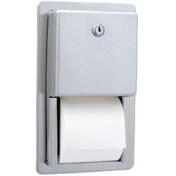 Recessed double toilet paper roll holder in stainless steel