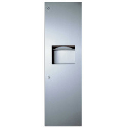Recessed unit waste receptacle and hand towel dispenser stainless steel