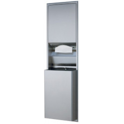 Recessed stainless steel combine paper towel dispenser and grand removable waste receptacle with key