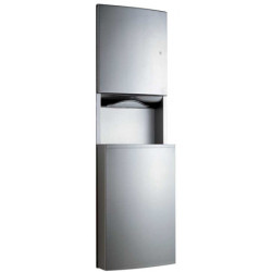 Recessed combination unit stainless steel paper towel dispenser and waste receptacle grand capacity