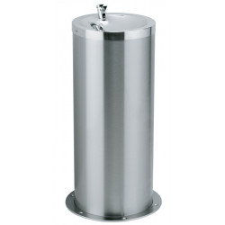 Drinking fountain on foot column stainless steel for collectivities