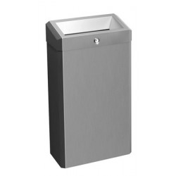 Waste receptacle ELITE stainless steel brushed wall or floor mounted with lid