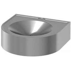 Wash basin mural stainless steel accessible Handicaped People entirely closed with service trap