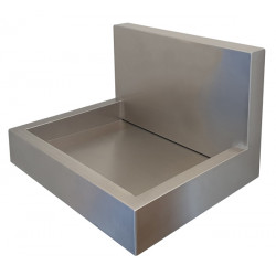 Wash basin stainless steel design invisible emptying with back splash high for wall faucets