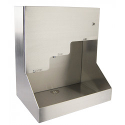 Mural hand wash automatic stainless steel 3 in 1 soap, water and air, robust for collective facilities.