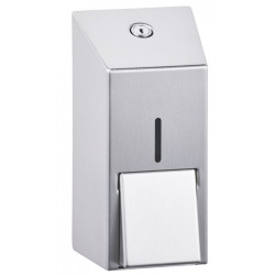 Small liquid soap dispenser in stainless steel brushed finish