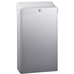 Waste receptacle wall mounted or floor placed stainless steel brushed with PUSH cover and key