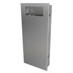 Recessed waste receptacle in stainless steel SLIM design and robust