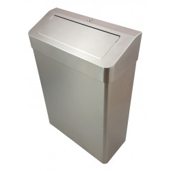 Waste receptacle PUSH  lid on flor or wall stainless steel 25 L