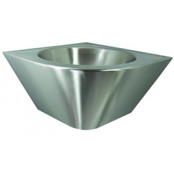 Corner wash basin stainless steel suspended aesthetic and robust