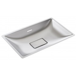 Rectangular vanity bowl to be recessed stainless steel invisible plug