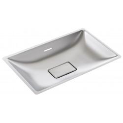 Vasque rectangulaire à encastrer inox bonde invisible