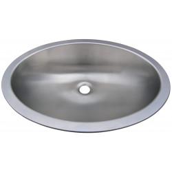 Recessed vanity bowl stainless steel in oval shape