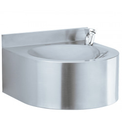 Drinking fountain wall mounted in stainless steel brushed