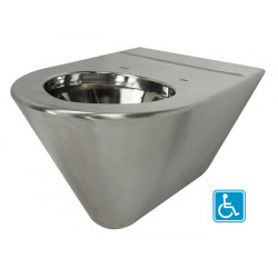 Wall hung WC handicaped version in stainless steel SKOOL