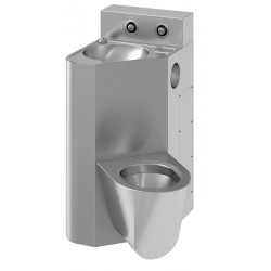 Combination wash basin with WC wall hung for fixation frontal