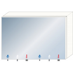 Mirror unit 2 places with accessories integrated soap, water and air