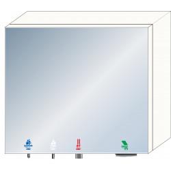 Meuble haut miroir 4 en 1 savon - eau - air- papier