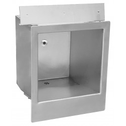 Wall mounted wash basin recessed vandal proof in stainless steel with sensor